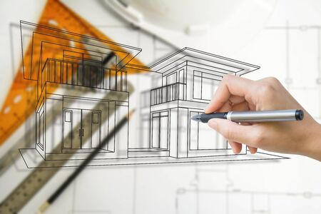 engineering and architecture drawings Stock Photo