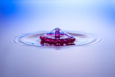 Water drops, drops, red, blue Banco de Imagens