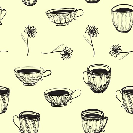 seamless retro vintage  hand drawn cup pattern with flowers Vector
