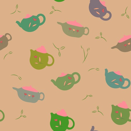 seamless pattern with nice green teapots in light colours Vector