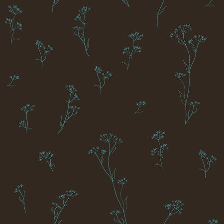 calendula: blue flowers on brown background Illustration