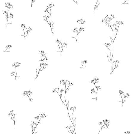 calendula flower: blue flowers on brown background Illustration