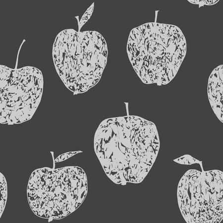 Cute seamless monochrome pattern with decorative apples Vector