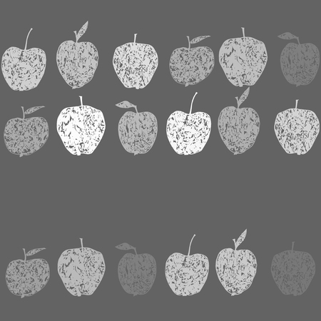 Cute seamless monochrome pattern with decorative apples. Vector