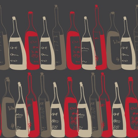 seamless pattern with hand drawn bottles Vector