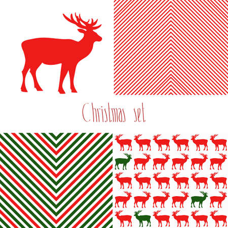 Set of Christmas patterns. Stripes and  polka dot textures. Patterns with deer. Vector