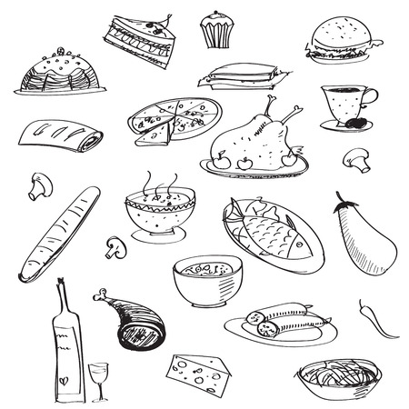 chiken: Vector doodle seamless background with meals