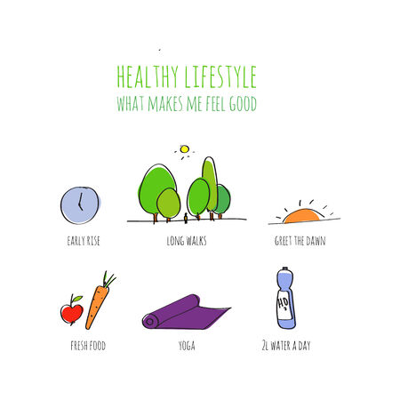 Healthy lifestyle infographic. doodle hand drawn illustration. Vector