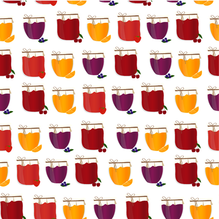 confiture: Friut confiture. Vector seamless pattern with homemade jam.