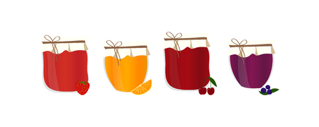 confiture: Friut confiture. Vector set with homemade jam. Isolated