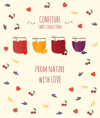 jams: Vector card with orange, blueberry, strawberry and cherry jams, with text for your design. Illustration