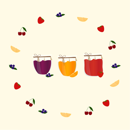 jams: Vector card with orange, blueberry, strawberry and cherry jams,  for your design.