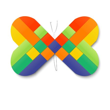 weaving: Paper stripe weaving color heart  butterfly.
