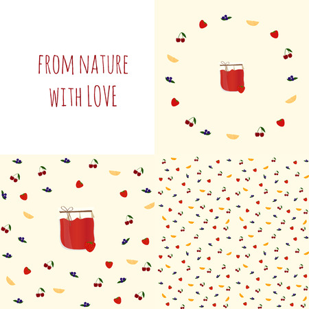 confiture: Set of vector backgrounds with jam for your  design