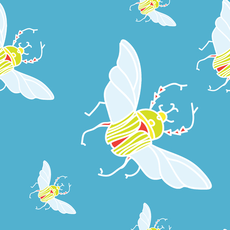 Vector seamless pattern with beetles