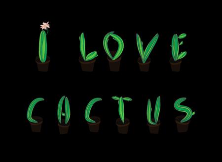 illustrate i: Cactus botanical font for design