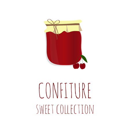 confiture: Cherry jam-jar, confiture sweet collection, element for your design