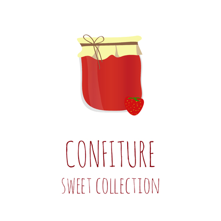 confiture: Strawberry jam-jar, confiture sweet collection, element for your design