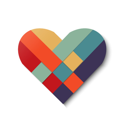 Paper stripe weaving color heart. Vector illustration.