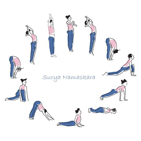 Woman practicing yoga asana vector illustration Vektorové ilustrace