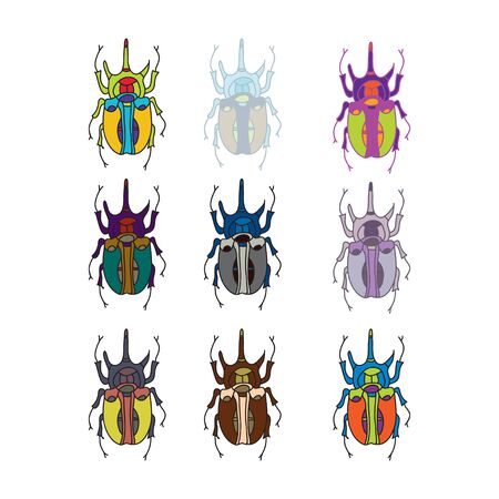 vector colored beetle icons for design Illustration