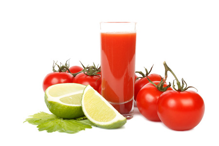 Tasty tomato juice lime and bunch of tomatoes isolated on white background. photo