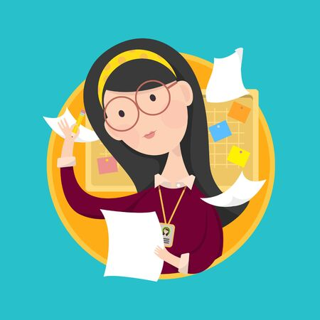 hair do: Vector illustration of woman wear glasses working with pencil and paper in hand. Board and memo in background.