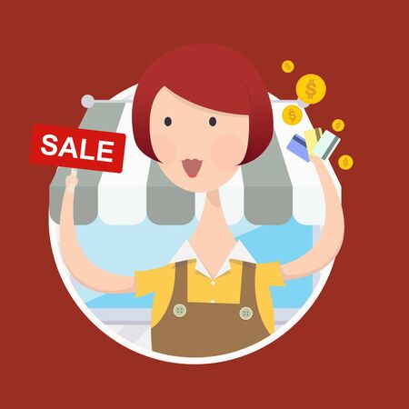 woman credit card: Vector illustration of woman working in front of shop with sale sign and credit card in hand. Illustration