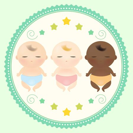 estrella caricatura: Ilustraci�n vectorial de tres beb�s multiculturales para dormir.