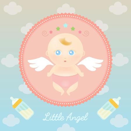 baby angel: Illustrazione vettoriale di cute baby angelo con bottiglia di latte nel cielo.