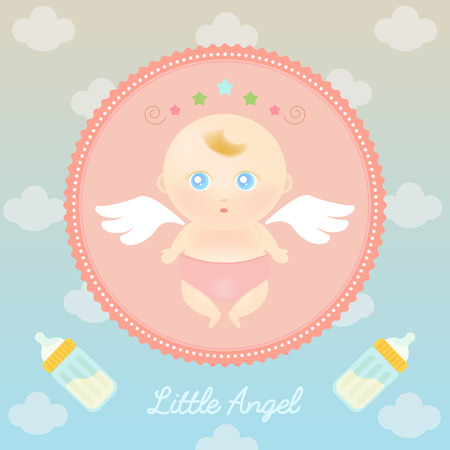 cute angel: Vector illustration of cute angel baby with milk bottle in the sky.