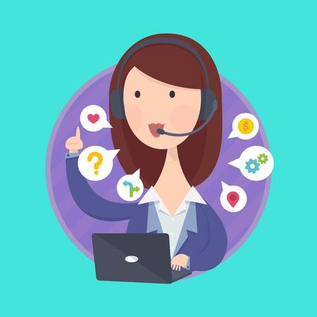 secretaria: Ilustración vectorial de atención al cliente concepto de servicio operador de la mujer mesa de ayuda. Vectores