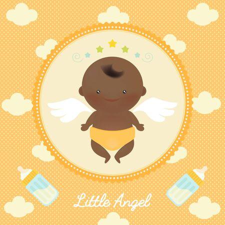 baby angel: Illustrazione vettoriale di carino angelo bambino africano con le ali su punti e nuvole sullo sfondo.