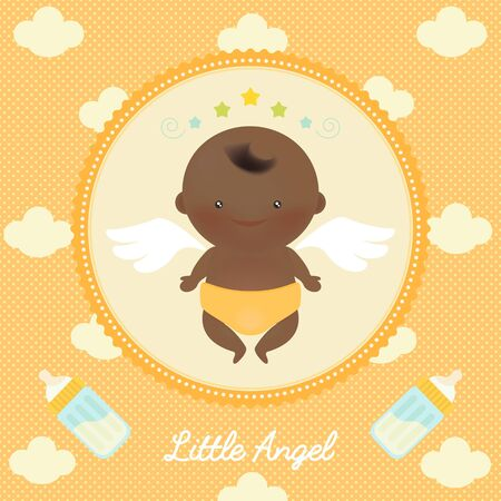 cartoon bottle: Vector illustration of cute angel african baby with wings on dots and clouds in the background.