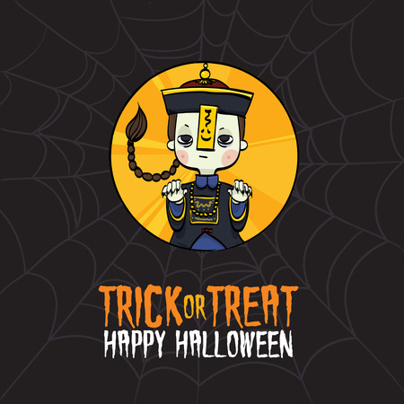 Vector Illustration of Kid Dressed Up Chinese Zombie Costume on Halloween.