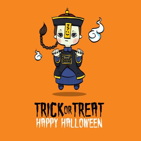 Vector Illustratie van de Chinese Zombie kostuum op Halloween.