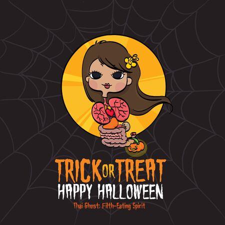 entrails: Vector Illustration of Thai Filth-Eating Spirit and Spider-Web Background on Halloween.