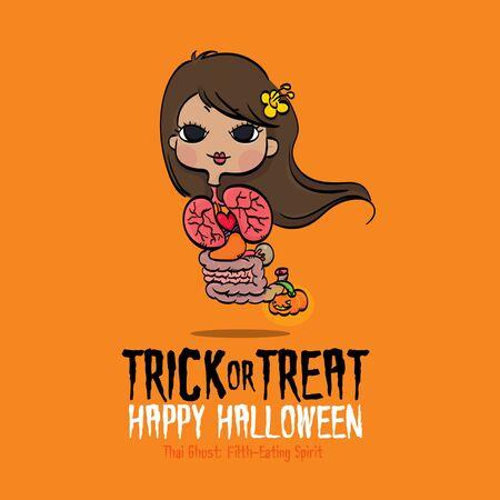 Vector Illustration of Thai Ghost Filth-Eating Spirit on Halloween.