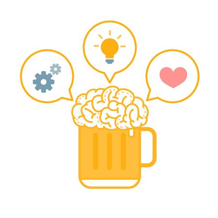 Vector Illustration of A Glass of Brain Beer with Bubbles Idea, Process and Love.