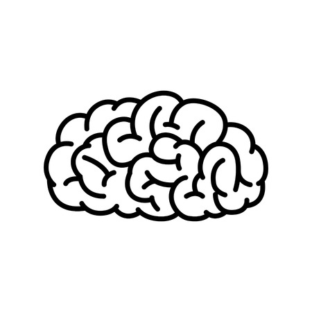 brain and thinking: Vector Illustration of Human Brain in Black and White Color.
