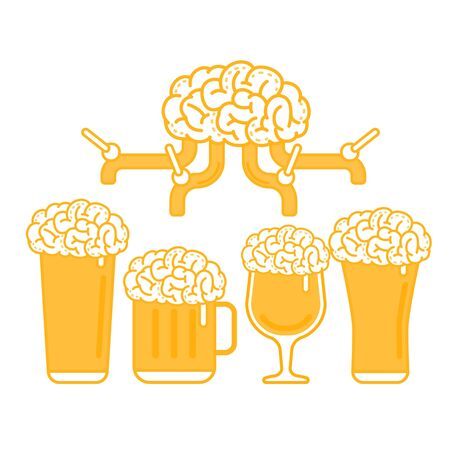Vector Illustration of A Brain Beer Tap and Various types of Beer Glass