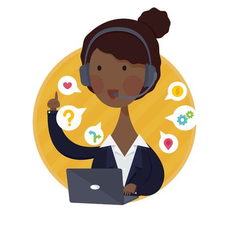 amarillo y negro: Ilustración vectorial de asistencia al cliente de la mujer del afroamericano Operador del servicio Concepto de Juego Negro