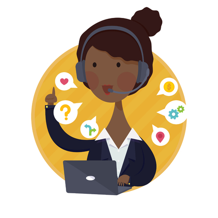 black girl: Vector Abbildung der Customer Support Help Desk African American Woman Operator-Service-Konzept in schwarzen Anzug