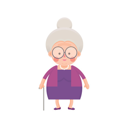 Vector Illustration of Old Woman in Purple Dress with Walking Stick Çizim