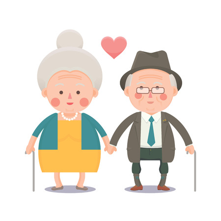 Vector illustration of Elder Couple, Man and Woman holding hand with Love