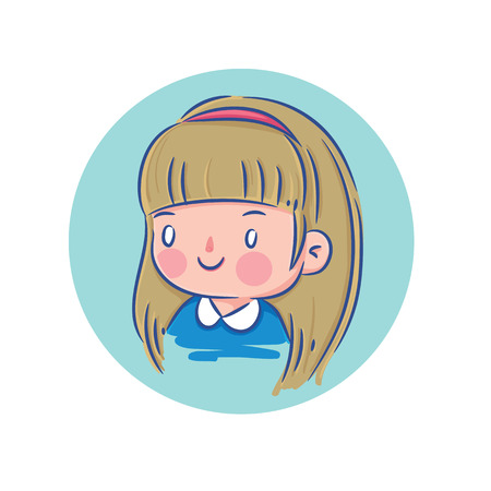 blond hair: Vector Illustration of Happy Little Girl with Blond Hair in Blue Shirt, Cartoon Character Profile Picture