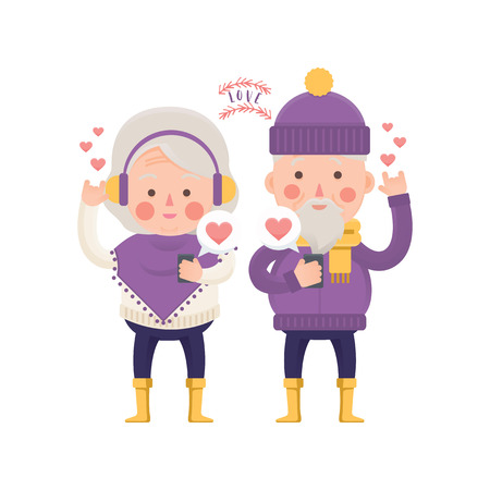 couple background: Vector Illustration of Senior Couple with Mobile sending Love Message, winter clothes, for Valentine day