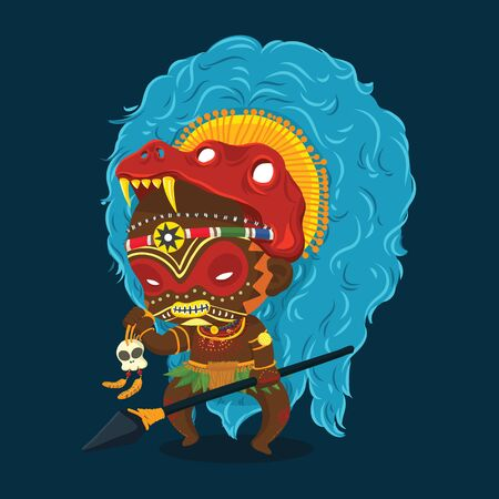 Vector Illustration of African Tribe Shaman with Spear and Skull Cartoon Character