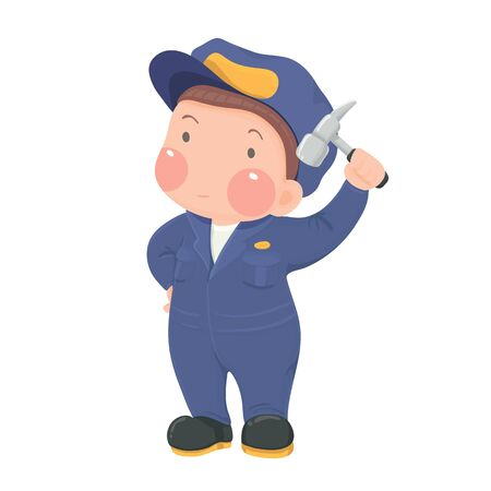 workwear: Vector Illustration of Service Mechanic Worker in Blue Workwear holding Hammer Cartoon Character on White Background Illustration