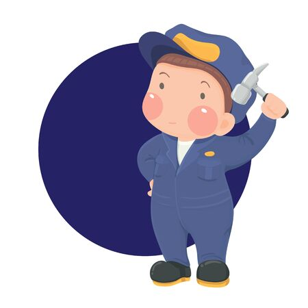 Vector Illustration of Service-Mechaniker Mann mit Hammer in der blauen Arbeitskleidung auf blauem Kreis-Hintergrund, Cartoon-Charakter